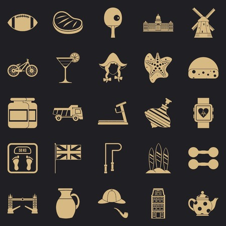 English sports icons set. Simple set of 25 english sports vector icons for web for any design