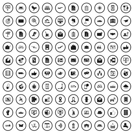 100 post and mail icons set in simple style Stock Illustratie