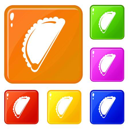 Cheburek icons set vector color Illustration