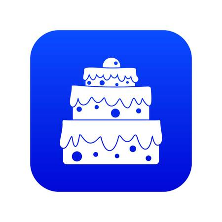 Big cake icon digital blue for any design isolated on white vector illustration
