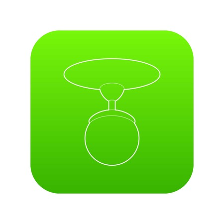 Round chandelier icon green vector isolated on white background
