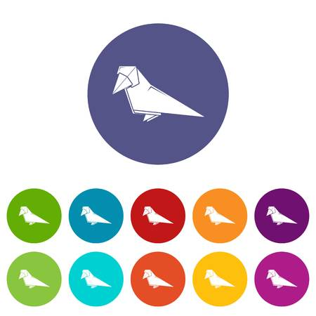 Origami bird icons color set vector for any web design on white background