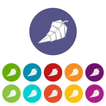 Origami leaf icons color set vector for any web design on white background Reklamní fotografie - 124739388