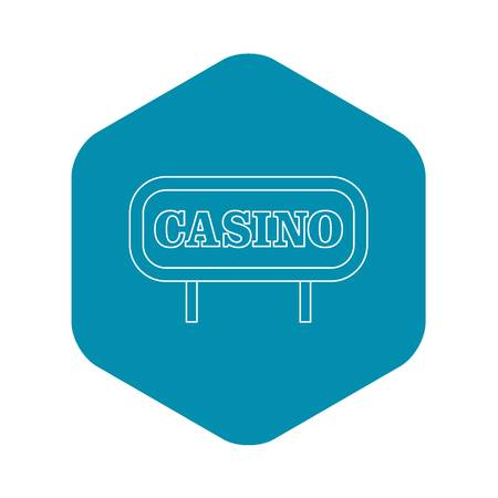 Casino signboard icon. Outline illustration of casino signboard vector icon for web