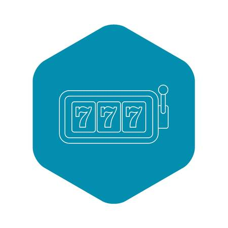 Slot machine with three sevens icon. Outline illustration of slot machine with three sevens vector icon for web