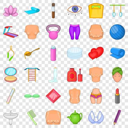 Cosmetic for make up icons set, cartoon style