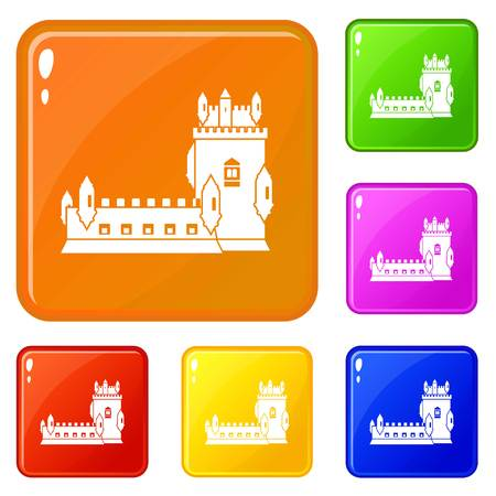 History castle icons set vector color Illustration