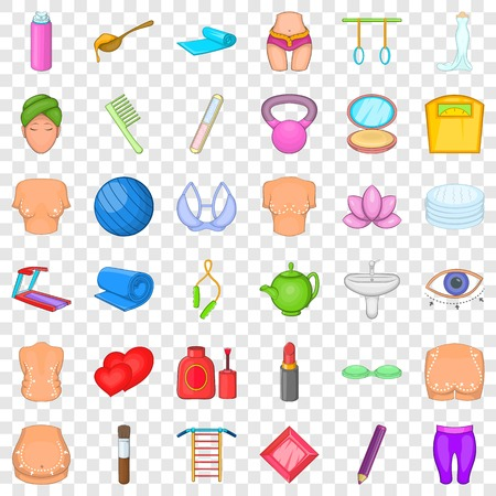 Make up icons set. Cartoon style of 36 make up vector icons for web for any design Illustration