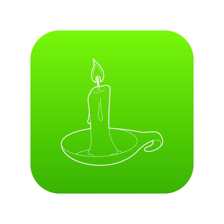 Candle icon green vector isolated on white background