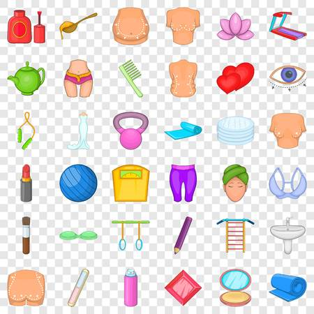 Make up cosmetic icons set, cartoon style