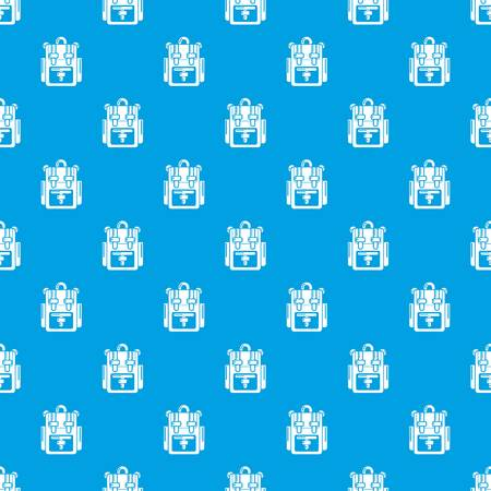 Backpack adventure pattern vector seamless blue repeat for any use Ilustração