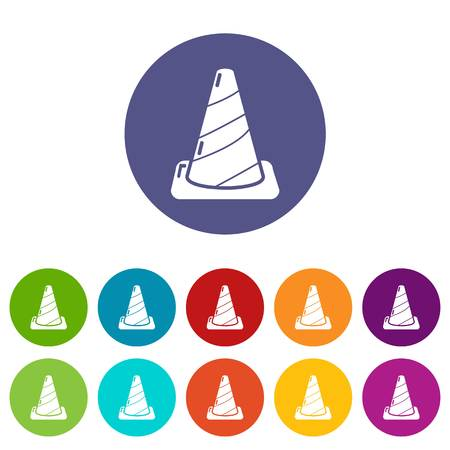Cone road icons color set vector for any web design on white background