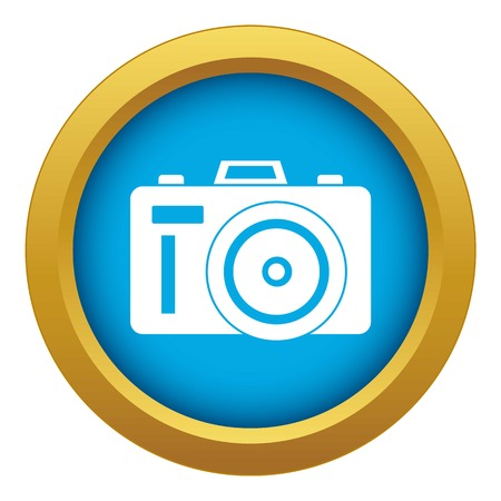 Photocamera icon blue vector isolated