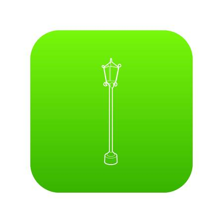 Street lamp icon green vector isolated on white background Illustration