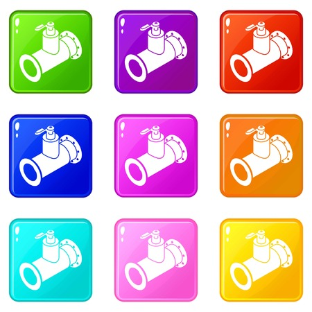 Pipe water icons set 9 color collection isolated on white for any design Banque d'images - 124740457