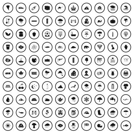 100 rain icons set, simple style