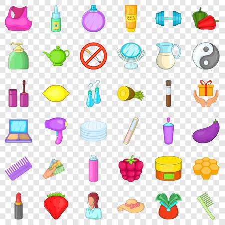 Make up product icons set, cartoon style
