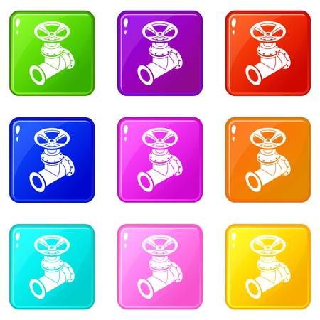 Gas pipe icons set 9 color collection isolated on white for any design Illustration