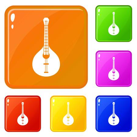 Guitar icons set vector color Illustration