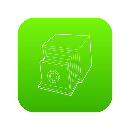 Retro camera icon green vector isolated on white background Illustration