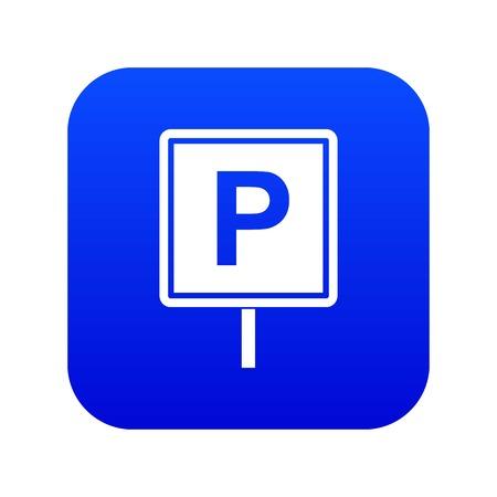 Parking sign icon digital blue Çizim