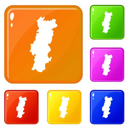 Portugal map icons set vector color
