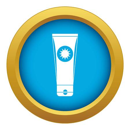 Sunscreen icon blue vector isolated