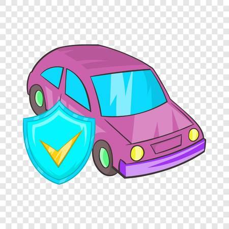 Car insurance icon in cartoon style