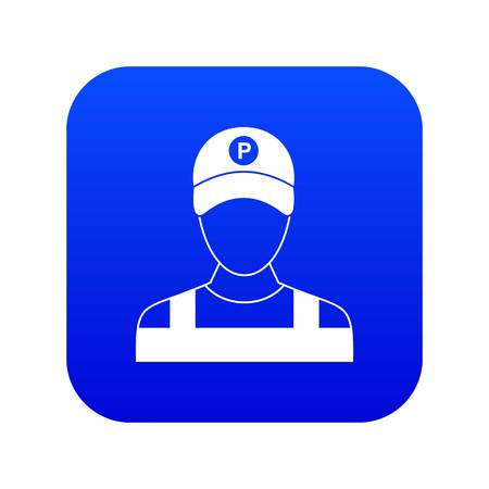 Parking attendant icon digital blue for any design isolated on white vector illustration