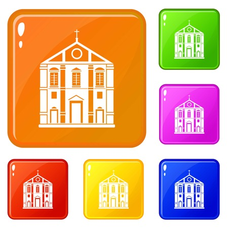 Church icons set vector color Illustration