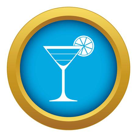 Cocktail icon blue vector isolated Illustration