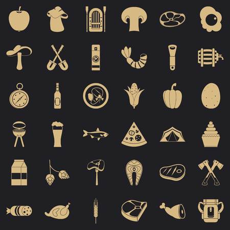 Barbecue icons set, simple style
