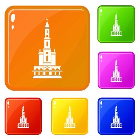 Big castle icons set vector color