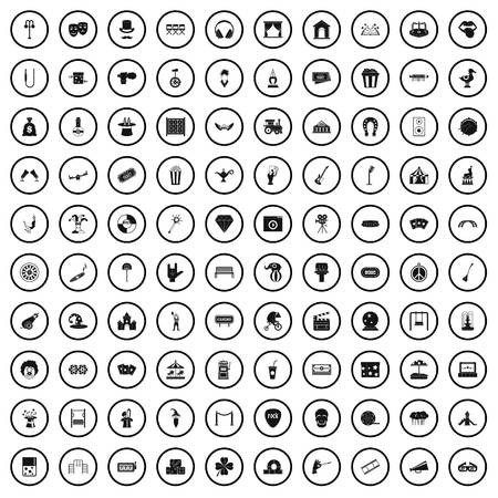 100 recreational activities icons set in simple style for any design vector illustration