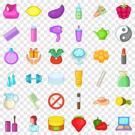 Beauty product icons set, cartoon style Standard-Bild - 124730289