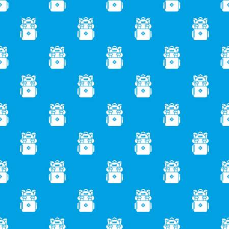 Backpack hiking pattern vector seamless blue repeat for any use