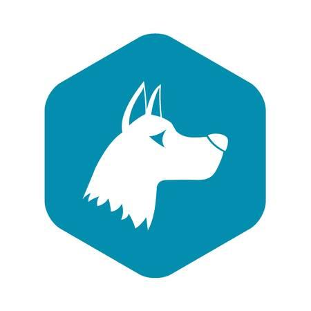 Doberman dog icon in simple style isolated on white background. Animals symbol Çizim