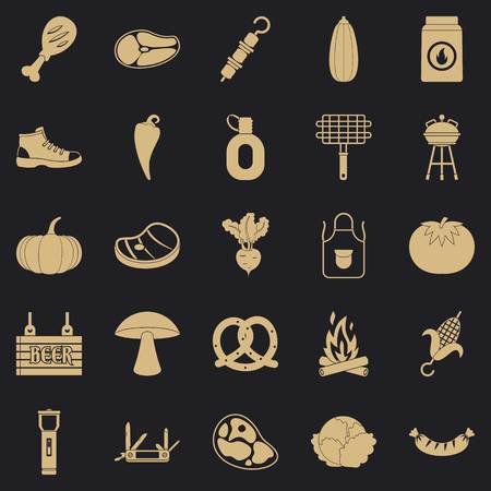 Fried meat icons set. Simple set of 25 fried meat vector icons for web for any design