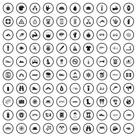 100 rafting icons set in simple style for any design vector illustration