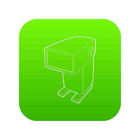 External flash camera icon green vector isolated on white background Ilustrace