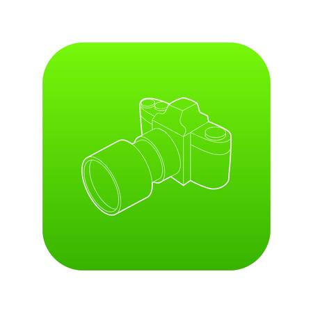 Photo camera with lens icon green vector isolated on white background Illustration