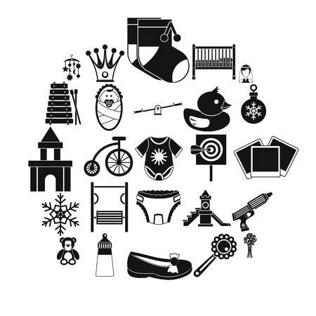 Nursery icons set, simple style