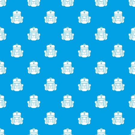 Backpack tourism pattern vector seamless blue repeat for any use