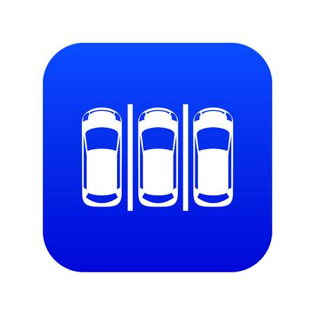 Car parking icon digital blue for any design isolated on white vector illustration