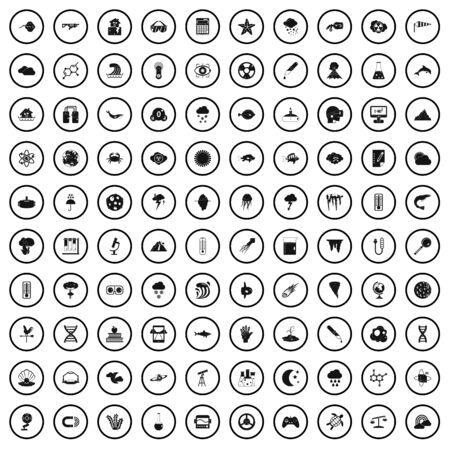 100 Forschungssymbole gesetzt, einfacher Stil Vektorgrafik