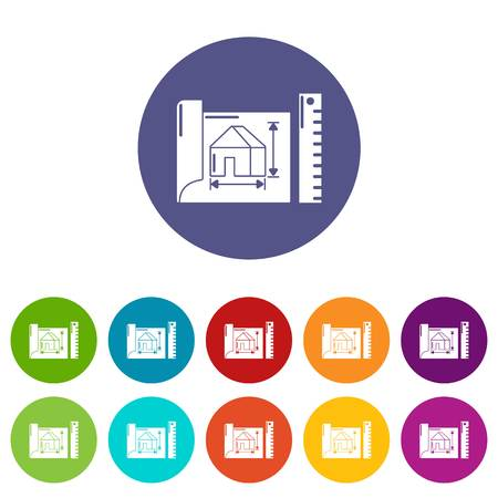 House plan icons set vector color