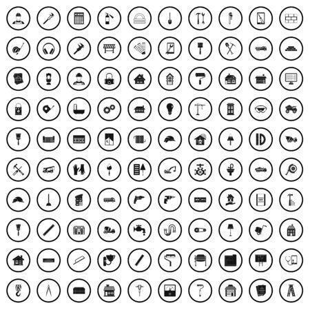 100 refurbishment icons set, simple style  イラスト・ベクター素材