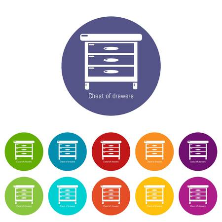 Nightstand icons color set vector for any web design on white background