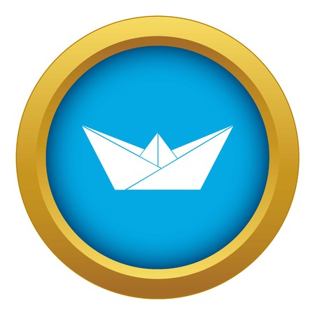 Origami boat icon blue vector isolated on white background for any design