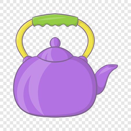 Violet teapot icon, cartoon style